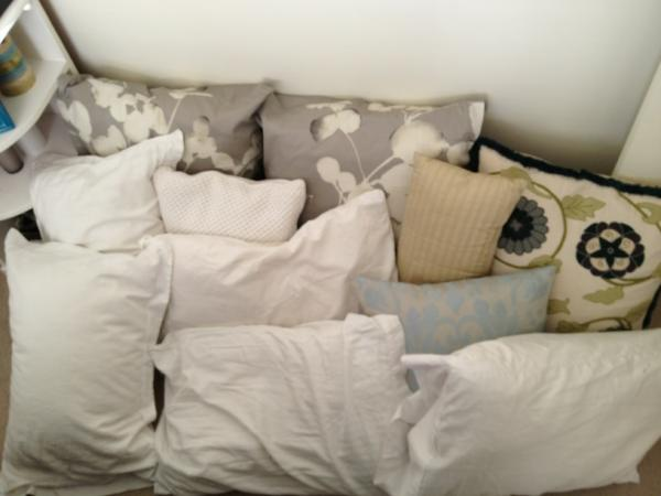 pillows on ground