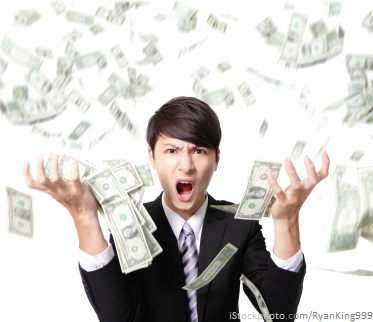 business man anger shouting with money falling rain isolated on white background, asian model