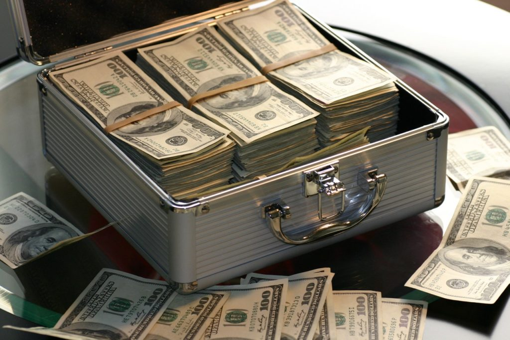 A case full of money